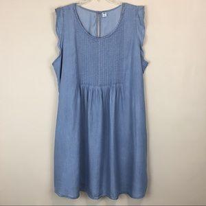 Old Navy Pintuck Babydoll Tencel Dress
